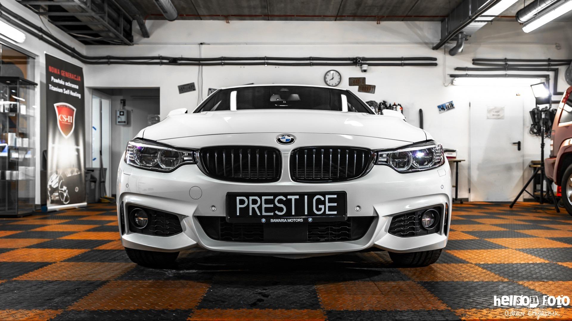 Białe BMW serii 4 przód