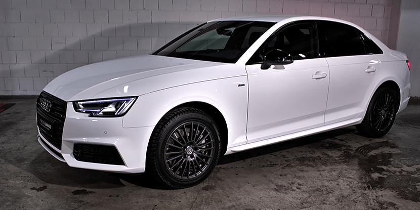 Audi A4 klasyczny biały sedan