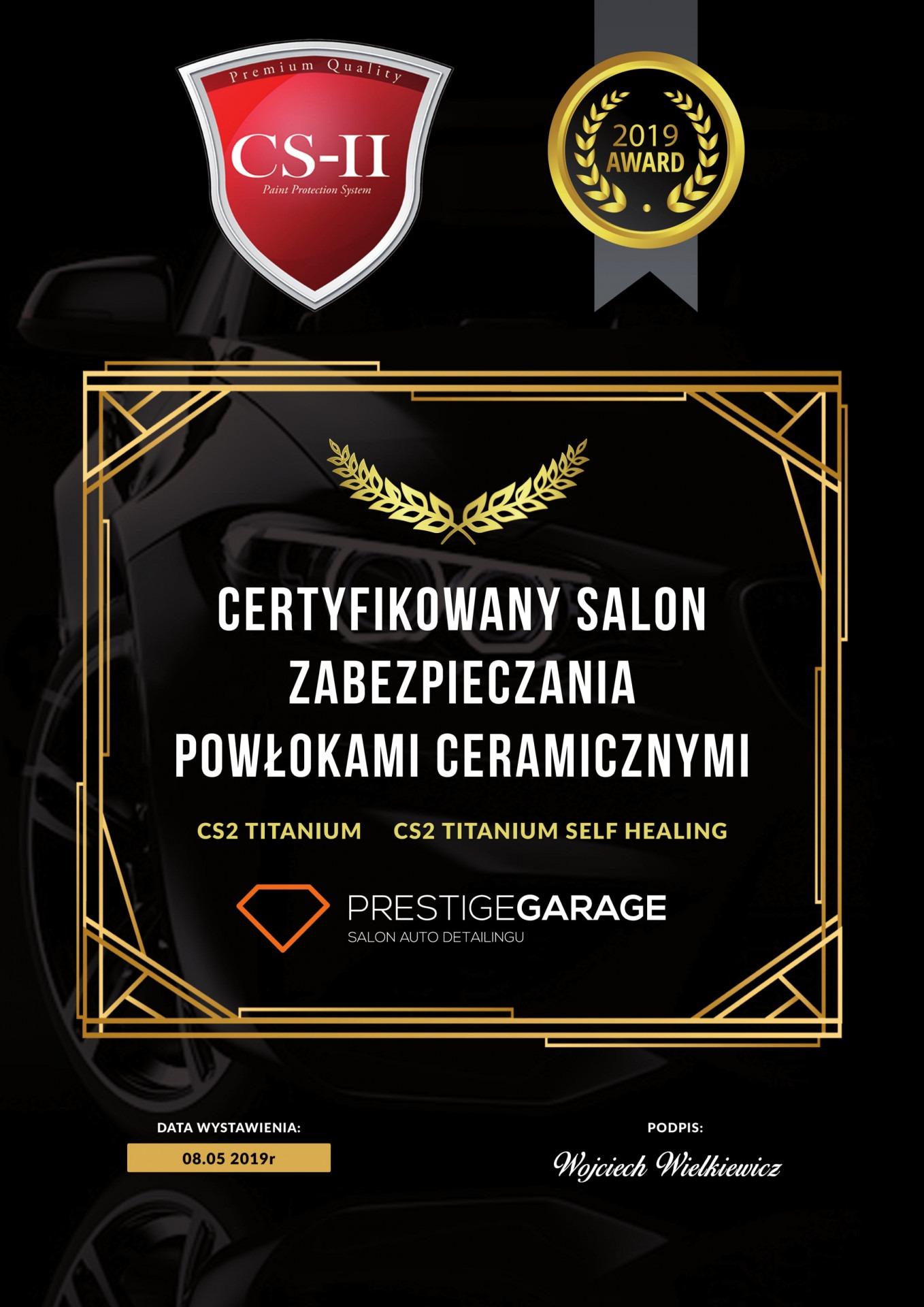 Prestige Garage - certyfikat cs2